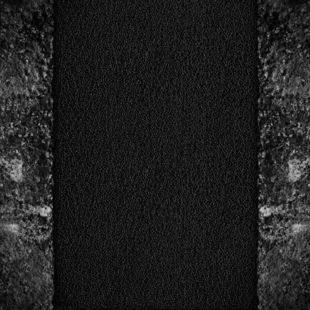margins: black leather background with rust iron margins Stock Photo
