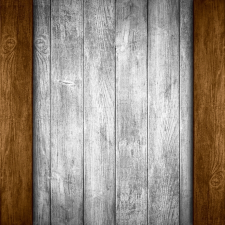 margins: grey wooden background or white planks texture with brown margins Stock Photo