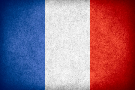 flag of France or French banner on paper rough pattern texture