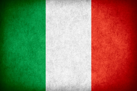 flag of Italy or Italian banner on paper rough pattern texture Banco de Imagens