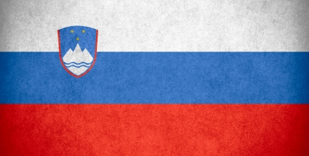 slovenian: flag of Slovenia or Slovenian banner on paper rough pattern texture