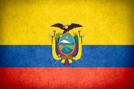 flag of Ecuador or Ecuadorian banner on paper rough pattern texture