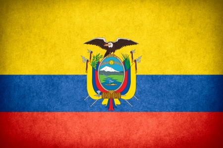 flag of Ecuador or Ecuadorian banner on paper rough pattern texture