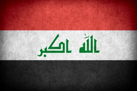 iraqi: flag of Iraq or Iraqi banner on paper rough pattern texture Stock Photo