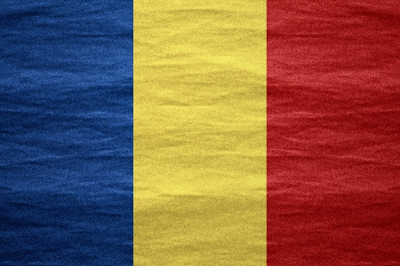 romanian: flag of  Romania  or Romanian  banner on canvas rough pattern texture