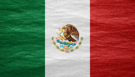 nationalities: flag of Mexico or Mexican banner on canvas texture Stock Photo