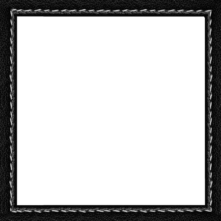 black leather frame with white seam isolated  Stock Photo