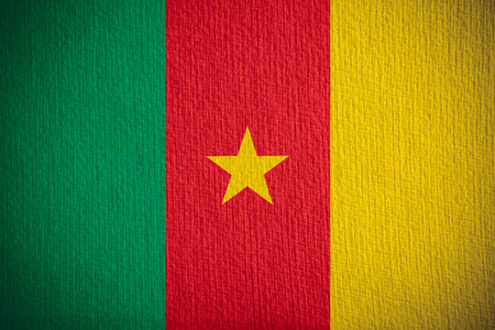 cameroonian: flag of Cameroon or Cameroonian banner on paper background