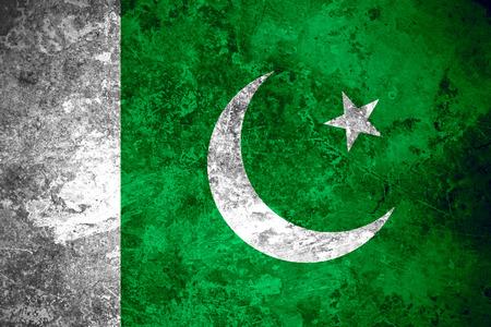 pakistani pakistan: flag of Pakistan or Pakistani banner on vintage metal texture