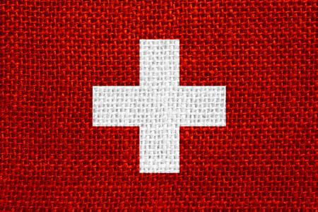 swiss: flag of Switzerland or Swiss banner on linen background