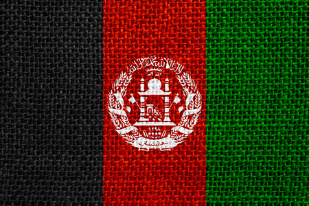 afghan flag: flag of Afghanistan or Afghan banner on linen background Stock Photo