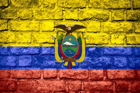ecuadorian: flag of Ecuador or Ecuadorian banner on brick texture Stock Photo