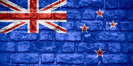 bandera de nueva zelanda: bandera de Nueva Zelanda o la bandera de la textura del ladrillo Foto de archivo