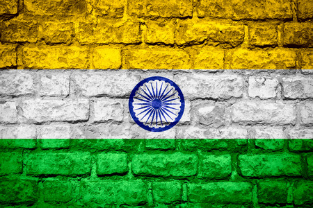 india flag: flag of India or Indian banner on brick texture Stock Photo