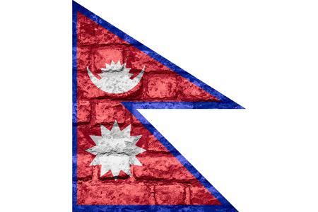 nepali: Nepali flag or banner of Nepal on brick texture background