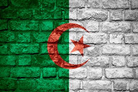 algerian flag: flag of Algeria or Algerian banner on brick texture Stock Photo