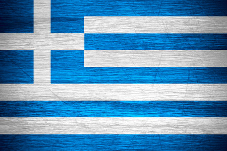 greece flag: Greece flag or Greek banner on wooden texture