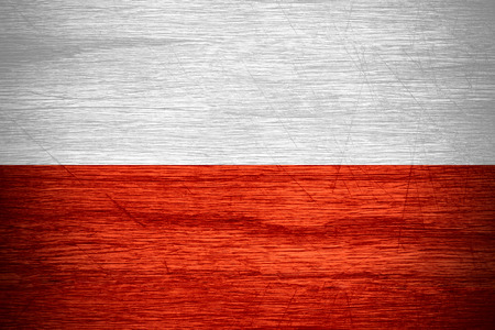poland flag: Poland flag or Polish banner on wooden texture Stock Photo