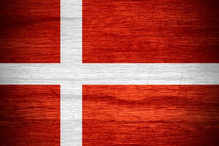 denmark flag: Denmark flag or Danish banner on wooden texture Stock Photo