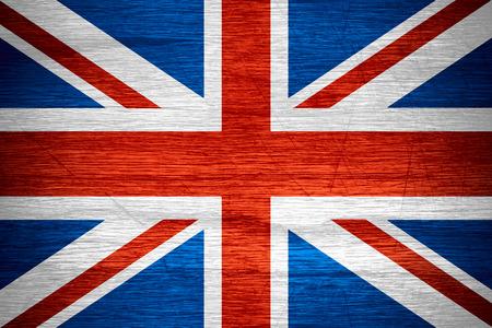 britan: United Kingdom, Great Britain flag or British banner on wooden texture