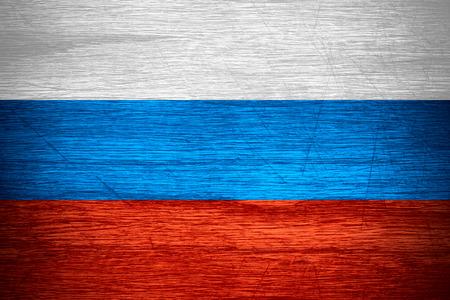 bandera rusia: Bandera de Rusia o la bandera de Rusia sobre la textura de madera