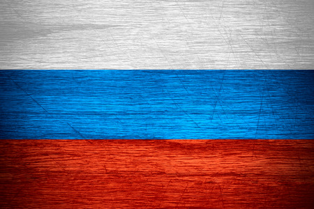russia flag: Russia flag or Russian banner on wooden texture Stock Photo