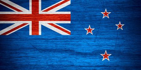 bandera de nueva zelanda: Nueva Zelanda bandera o estandarte en textura de madera Foto de archivo