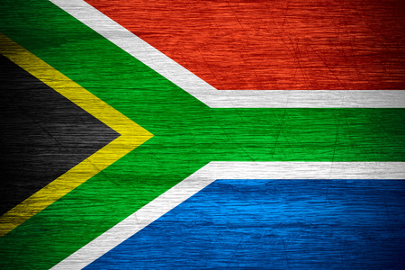 rsa: Republic of South Africa flag or RSA banner on wooden texture Stock Photo