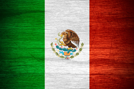 mexico flag: Mexico flag or Mexican banner on wooden texture Stock Photo