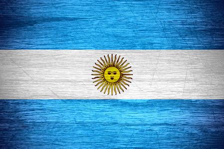 bandera argentina: Bandera de Argentina o la bandera argentina en la textura de madera