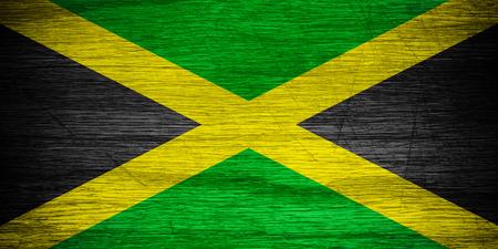 jamaican: Jamaica flag or Jamaican banner on wooden texture