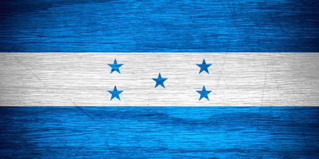bandera honduras: Bandera de Honduras o banner en textura de madera Foto de archivo