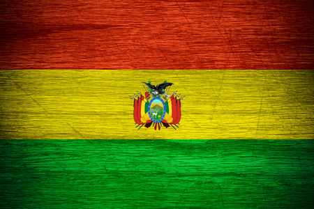 bandera bolivia: Bolivia bandera o estandarte boliviano en textura de madera Foto de archivo