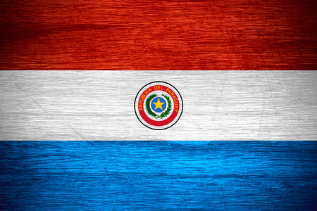 paraguayan: Paraguay flag or Paraguayan banner on wooden texture Stock Photo