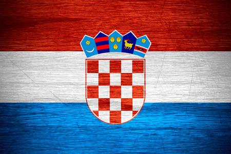 bandera croacia: Bandera de Croacia o la bandera croata en textura de madera