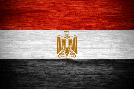 egypt flag: Egypt flag or Egyptian banner on wooden texture