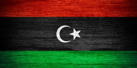 libysch: Libyen Libysche Flagge oder Banner auf Holz Textur Lizenzfreie Bilder