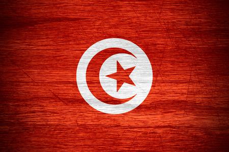 tunisian: Tunisia flag or Tunisian banner on wooden texture