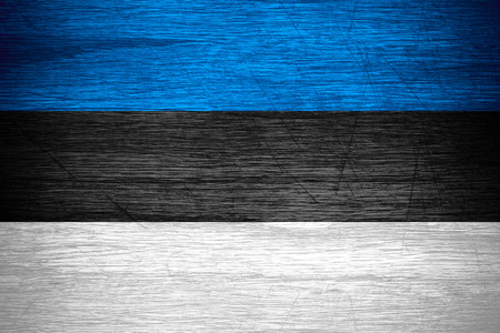 estonian: Estonia flag or Estonian banner on wooden texture