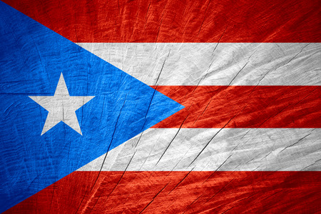 puerto rican flag: Puerto Rico flag or Puerto Rican  banner on wooden texture