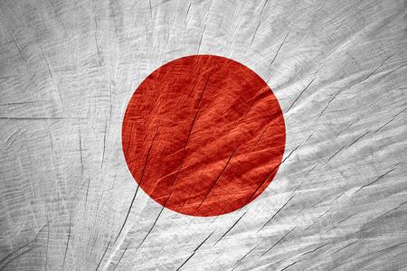 bandera japon: Bandera de Japón o la bandera japonesa en textura de madera Foto de archivo