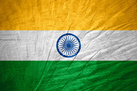 india flag: India flag or banner on wooden texture