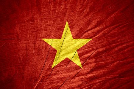 vietnam flag: Vietnam flag or Vietnamese banner on wooden texture