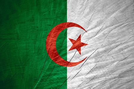 algerian flag: Algeria flag or Algerian banner on wooden texture