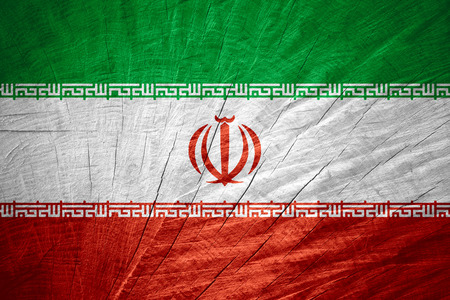 iranian: Iran flag or Iranian banner on wooden texture Stock Photo