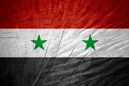 Syryjski: Syryjski Syria flag lub banner na drewnianych tekstury