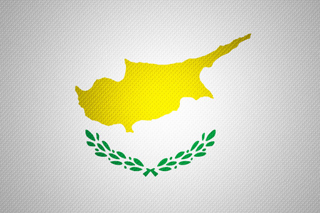cypriot: Cyprus flag or Cypriot banner on abstract texture Stock Photo