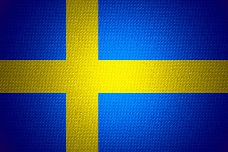 bandera suecia: Suecia bandera o estandarte sueca sobre la textura abstracta Foto de archivo