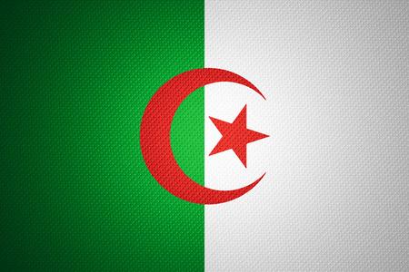 Algierski: Flaga Algierii lub baner na abstrakcyjnym Algierii tekstury Zdjęcie Seryjne