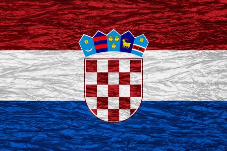 bandera croacia: Croacia pabell�n o bandera croata en la textura de la lona Foto de archivo